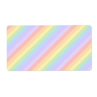 Rayas en colores pastel del arco iris etiqueta de envío