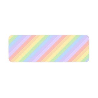 Rayas en colores pastel del arco iris etiquetas de remite
