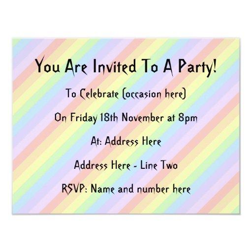 """Rayas en colores pastel del arco iris invitación 4.25"""" x 5.5"""""""