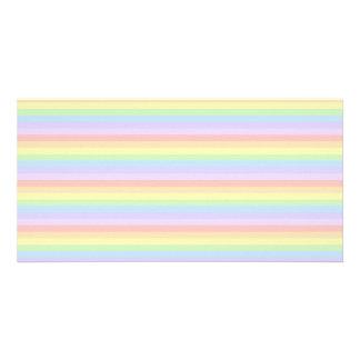 Rayas en colores pastel del arco iris tarjeta fotografica