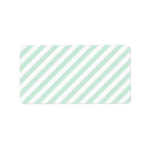 Rayas en colores pastel del verde y del blanco de etiquetas de dirección