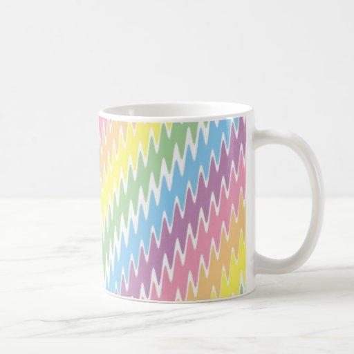 Rayas en colores pastel dentadas tazas de café