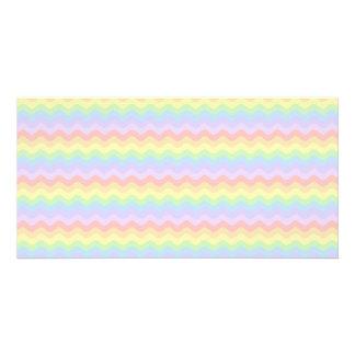 Rayas en colores pastel onduladas del arco iris tarjetas fotograficas