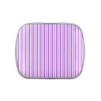 Rayas en púrpura, lavanda, lata blanca blanca del  jarrones de caramelos