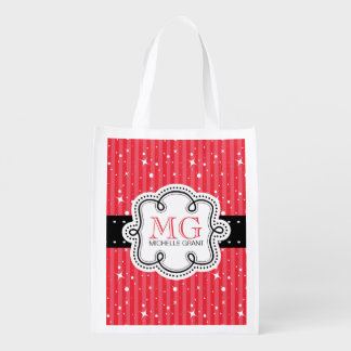 Rayas femeninas lindas con la personalización bolsas de la compra