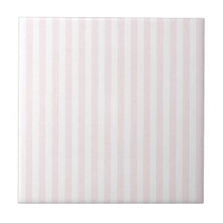 Rayas finas - blancas y pálidas - rosa azulejo cuadrado pequeño