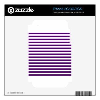 Rayas finas - blancas y violeta oscura calcomanías para el iPhone 3G