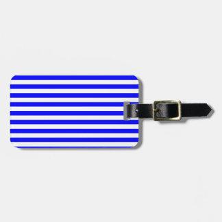 Rayas finas - blanco y azul etiquetas para equipaje