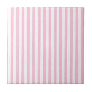 Rayas finas - blanco y caramelo de algodón azulejo cuadrado pequeño