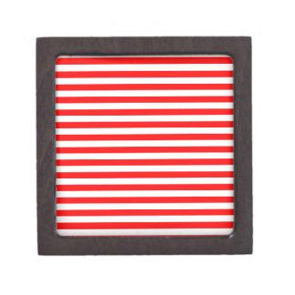 Rayas finas - blanco y rojo cajas de joyas de calidad