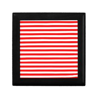 Rayas finas - blanco y rojo joyero cuadrado pequeño