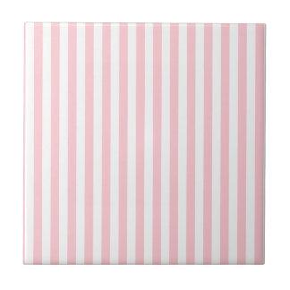 Rayas finas - blanco y rosa azulejo cuadrado pequeño