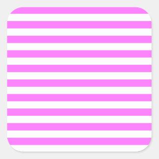 Rayas finas - blanco y ultra rosa pegatina cuadrada