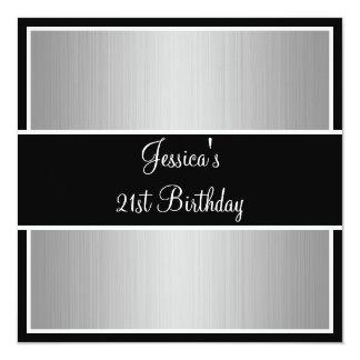 """Rayas finas grises negro y blanco de la fiesta de invitación 5.25"""" x 5.25"""""""