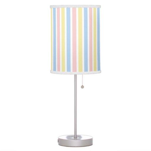 Rayas finas gruesas amarillas y blancas rosadas lámpara de mesa
