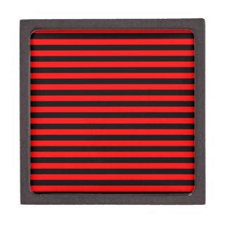Rayas finas - negro y rojo caja de regalo de calidad