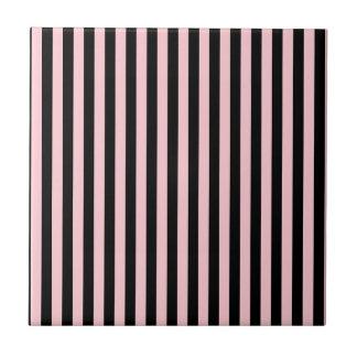 Rayas finas - negro y rosa azulejo cuadrado pequeño