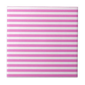 Rayas finas - rosas claras y rosa oscuro azulejo cuadrado pequeño