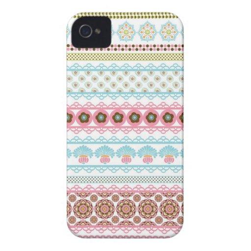 Rayas florales abstractas magníficas funda para iPhone 4 de Case-Mate
