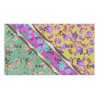 Rayas florales coloridas de moda del inconformista tarjetas de visita