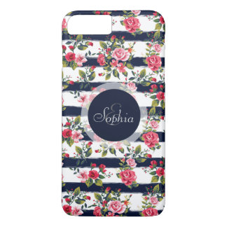 Rayas florales de la acuarela de los rosas funda iPhone 7 plus