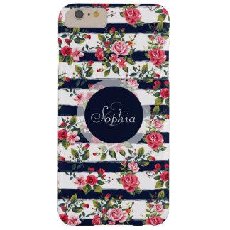 Rayas florales de la acuarela de los rosas funda para iPhone 6 plus barely there
