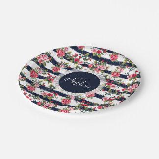 Rayas florales de la acuarela de los rosas platos de papel