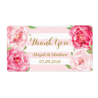 Rayas florales de la acuarela rosada que casan etiquetas de envío