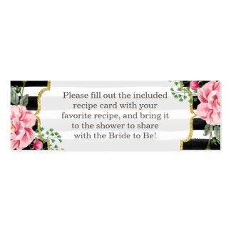 Rayas florales de la ducha de la receta del rosa tarjetas de visita mini