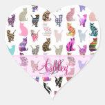 Rayas florales de los gatos caprichosos femeninos  calcomanías corazones personalizadas
