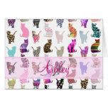 Rayas florales de los gatos caprichosos femeninos  tarjeta
