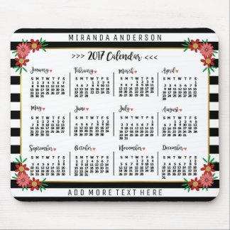 Rayas florales de moda del calendario mensual de tapete de ratón