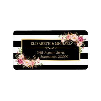 Rayas florales hermosas del blanco del negro de la etiquetas de dirección