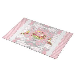 Rayas florales inglesas de la urna w del rosa de mantel individual