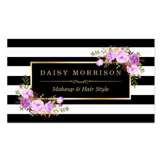 Rayas florales púrpuras elegantes del blanco del tarjetas de visita