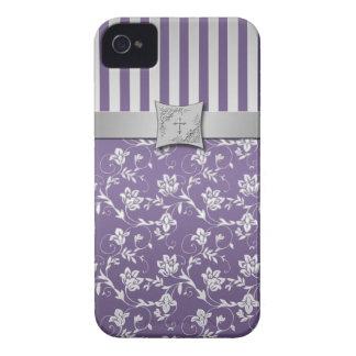 Rayas florales púrpuras y de plata cristianas iPhone 4 cárcasa