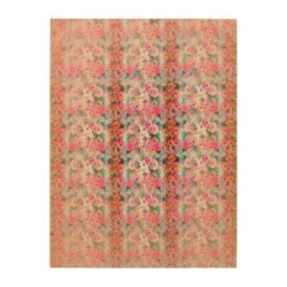 Rayas florales rosadas del vintage impresiones en madera