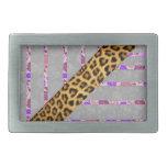 Rayas florales y del guepardo de la impresión hebillas cinturon rectangulares