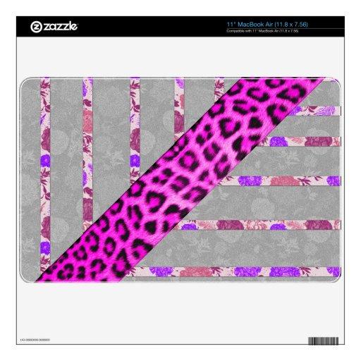 Rayas florales y del guepardo rosadas de la impres skins para elMacBook air