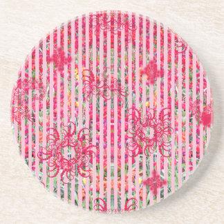 rayas fragtual del rosa del verano de la flor del posavaso para bebida