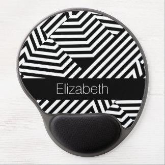 Rayas geométricas blancos y negros de moda con alfombrilla gel