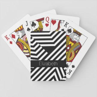 Rayas geométricas blancos y negros de moda con baraja de cartas