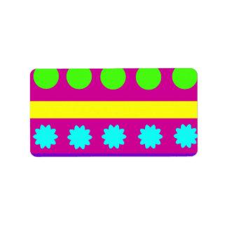 Rayas geométricas coloridas de las formas de Fusch Etiquetas De Dirección
