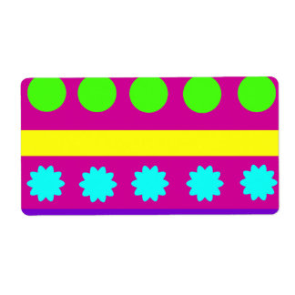 Rayas geométricas coloridas de las formas de Fusch Etiqueta De Envío