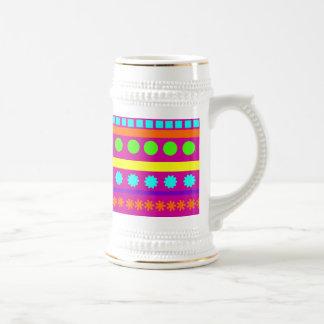 Rayas geométricas coloridas de las formas de Fusch Taza De Café