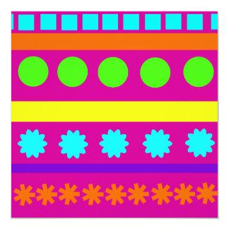 Rayas geométricas coloridas de las formas de invitación 13,3 cm x 13,3cm