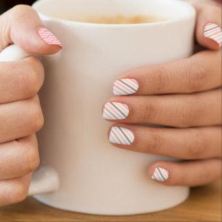 Rayas geométricas rosadas femeninas inconsútiles pegatinas para manicura