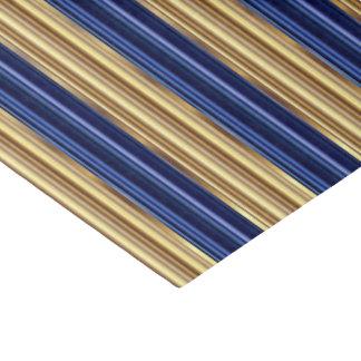 Rayas grandes de los azules marinos y del oro papel de seda pequeño