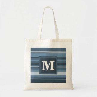 Rayas gris-azules del monograma bolsa tela barata