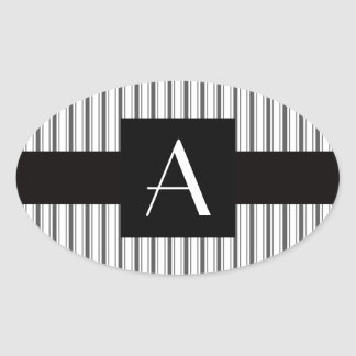 Rayas grises blancas del monograma colcomanias ovaladas